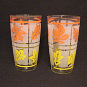 Vintage Hazel Atlas Mid-Century Tea Glasses Leaf Motif Excellent Condition