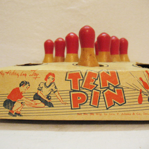 Vintage Ten Pin Bowling Game Original Box 1940-50s Very Good Vintage Condition