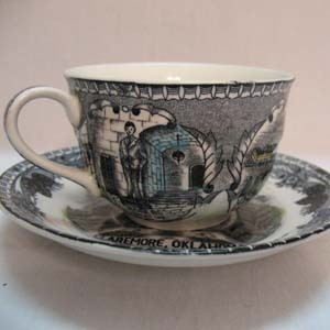 Vintage Collectible Will Rogers Souvenir Cup & Saucer Claremore Oklahoma 1930s Excellent Condition