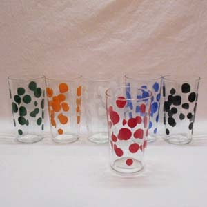 Vintage (6) Hazel Atlas Optical Polka Dot 10 ounce Glasses Very Good Condition