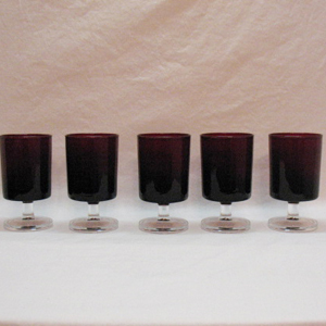 Vintage Arc International Arcoroc (5) 4 Oz Tempered Ruby Red Stemware Glasses 1960-70s Excellent Condition