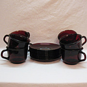 Vintage Arc International Arcoroc (7) Cup & Saucer Sets Ruby Red Tempered Glass 1960-70s Excellent Condition
