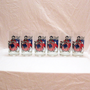 (6) Vintage Borden's Elsie Elmer & Beauregard Bi-Centennial Patriotic Glasses 1976 Very Good Condition