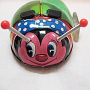 Vintage Japanese Tin Toy Flapping Lady Bug 1960s Works Very Good Condition