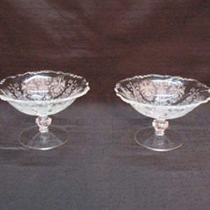 Vintage Heisey Orchid Etched Pattern (2) Compotes on Waverly Blanks 1940-57 Excellent Condition