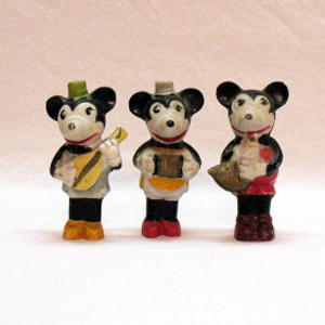 Vintage Mickey Mouse Complete Musician Bisque Set 1920-30s Very Good Condition