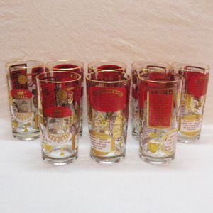 (8) Vintage Tall Hiball Glasses Featuring Drink Recipes 1960s Very Good Condition