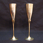 Vintage Solid Brass Goblets 1950s Very Good Condition