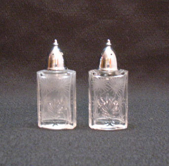 Vintage Fostoria Lido Pattern S&P Crystal Shakers 1930-67 Very Good Condition
