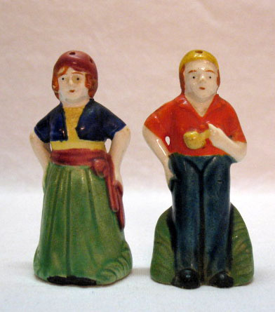 Vintage Man & Woman Porcelain S&P Shakers 1920-30s Very Good Condition