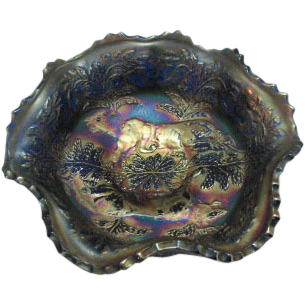 Vintage Fenton Berry Bowl Two Panther Design Cobalt Blue