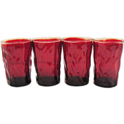 Vintage Morgantown Ruby Red Crinkle Glass Tumblers 1960-71 Excellent condition