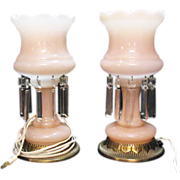 Vintage Mid-Century Electric Boudoir Pink Satin Glass Lamps with Prisms Excellent Condition