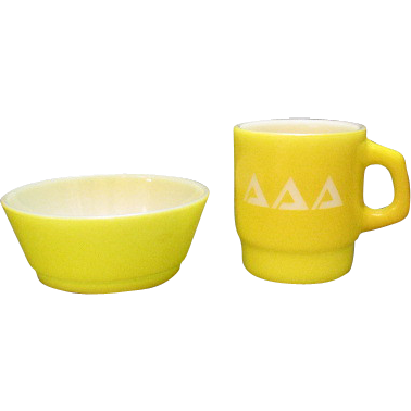 Vintage Anchor Hocking Cup & Bowl Set 1960s Very Good Condition