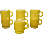 (7) Vintage Anchor Hocking Yellow Stackable Cups 1960s Very Good Condition
