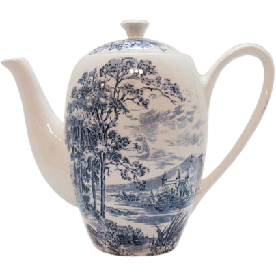 Vintage Wedgwood China 5 Cup Coffee Pot Countryside Blue Pattern 1966-68 Excellent Condition