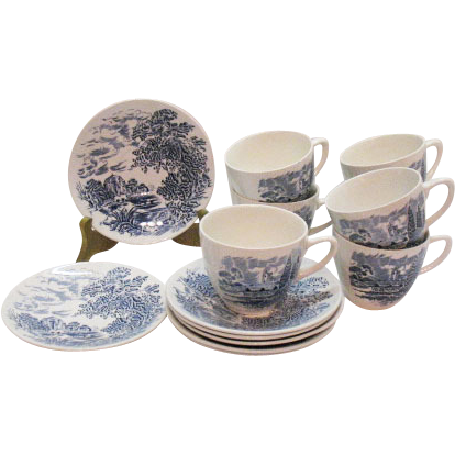 Vintage Sets of Wedgwood Cup & Saucer Blue Countryside Pattern Very Good Condition