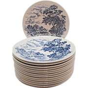 Vintage Wedgwood Bread & Butter Plates Having Blue Countryside Pattern Very Good Condition
