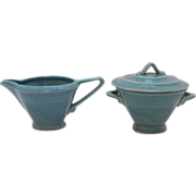 Vintage Homer Laughlin Harlequin Sugar & Creamer Set Turquoise Color Excellent Condition