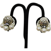 Vintage Miriam Haskell Pearl Rhinestone Earrings