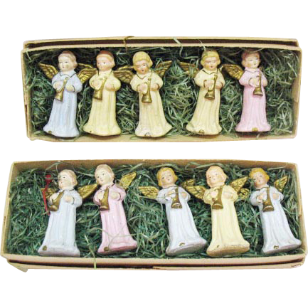 Vintage Christmas Hard Plastic Angel Figurines Made in Western Germany US Zone Original Boxes Excellent Condition