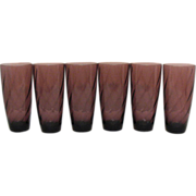 Six Vintage Hazel Ware Moroccan Amethyst Ice Tea Tumblers 1960s Excellent Condition