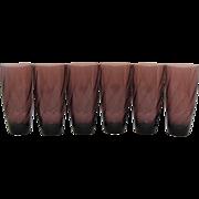 Six Vintage Hazel Ware Moroccan Amethyst Ice Tea Tumblers 1960s Excellent Condition