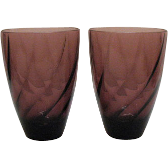Two Vintage Hazel Ware Moroccan Amethyst Water Tumblers 1960s Excellent Condition