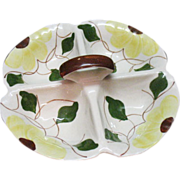 Vintage Blue Ridge Southern Pottery Divided Dish 1940-50s Yellow Flowers Green Leaves & Vines Very Good Condition