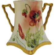 Vintage Turn-of-Century Hand Painted Toothpick Holder Signed M.W.Poole Orange Poppy Motif