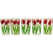 Vintage 5 Swanky Swigs Tulip Motif Glasses Very Good Condition