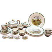 Vintage Spode Copland J.F. Herring the Hunt 25 Pc. Tea Set Good Vintage Condition