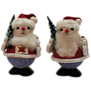 Two Vintage Styrofoam Santa's 1950s Very Good Condition
