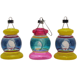 Three Unsilvered Lantern Shaped Glass Christmas Tree Ornaments 1942-45 Very Good Condition