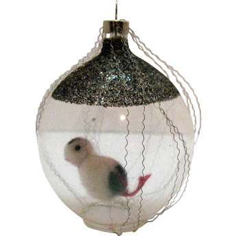 Czechoslovakia Wire Wrapped Glass Christmas Tree Ornament Bird On A Swing Very Good Condition