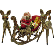 Very Nice Santa In Sleigh with Deer Display Hard Plastic Encrusted Mica Very Good Condition