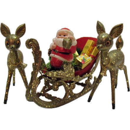 Very Nice Santa In Sleigh with Deer Display Hard Plastic Encrusted Mica Very Good Condition
