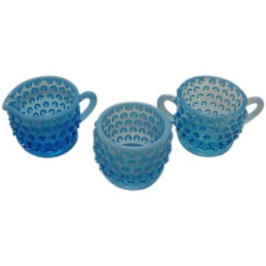 Fenton Blue Opalescent Hobnail Sugar Creamer Mustard Condiment set 1940-60s Very Good Condition