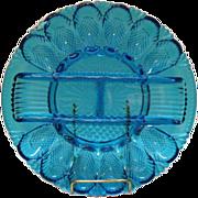 Vintage L.E. Smith Cobalt Blue Deviled Egg Plate/Tray 1970s Excellent Condition