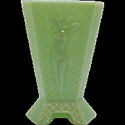 Vintage Art Deco McKee 3 Sided Jadeite/Jade Vase Nude Woman Motif Very Good Condition