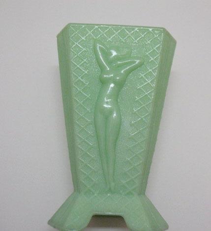 Vintage Art Deco McKee 3 Sided Jadeite/Jade Vase Nude