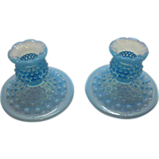 Vintage Fenton blue Opalescent Hobnail Candle Holders still in Excellent Condition