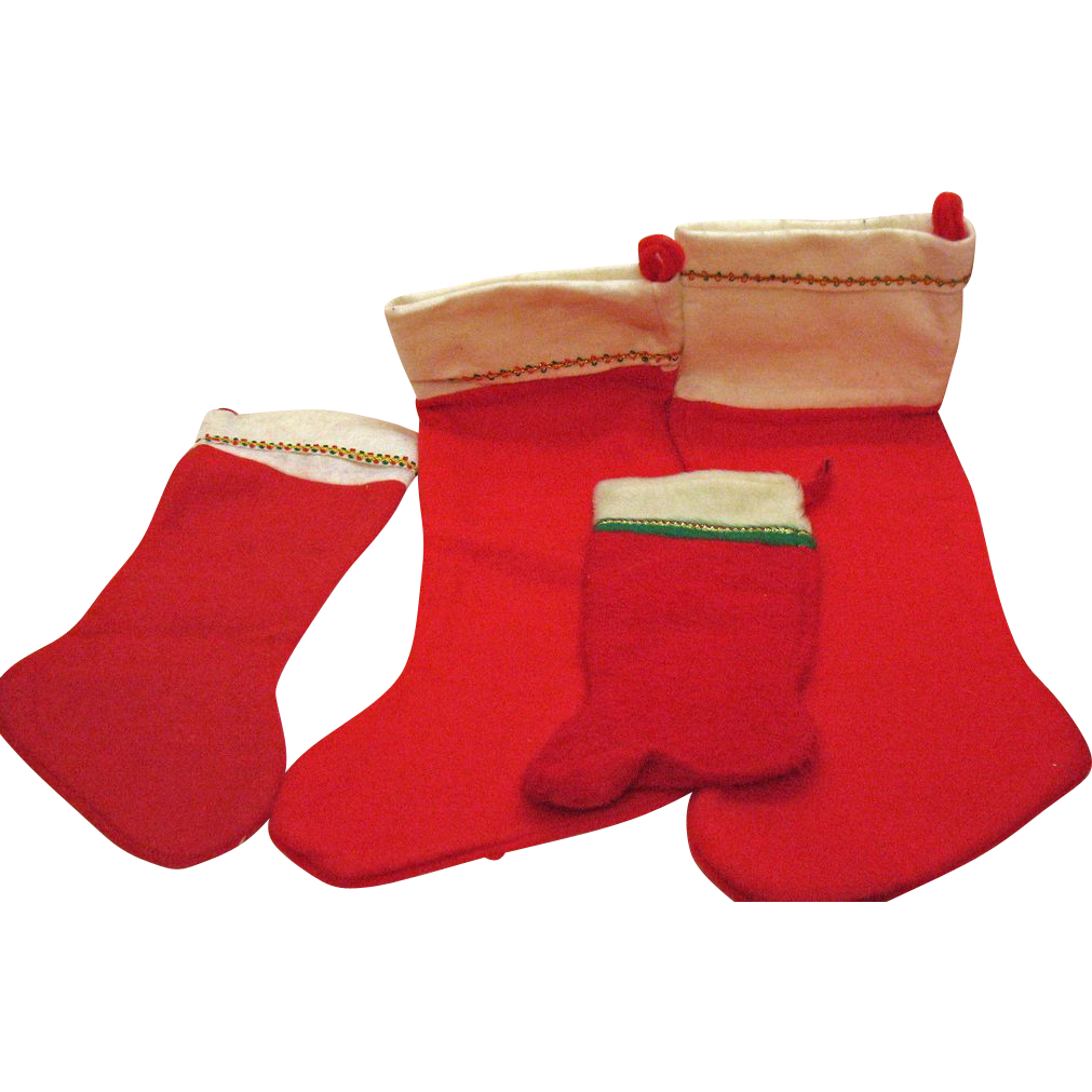 Vintage Group of 4 Felt Christmas Stockings 1960s Various Sizes Very Good Condition