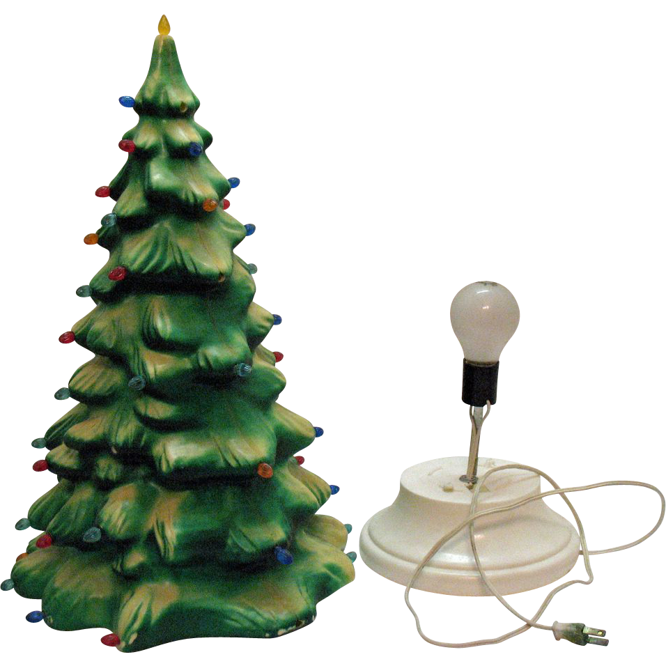 Vintage Celluloid Light Up Christmas Tree Plastic Inserts Very Good Condition