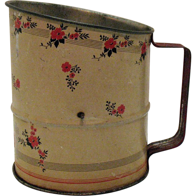 Hall's Red Poppy Metal Flour Sifter 1933-53 Good Condition