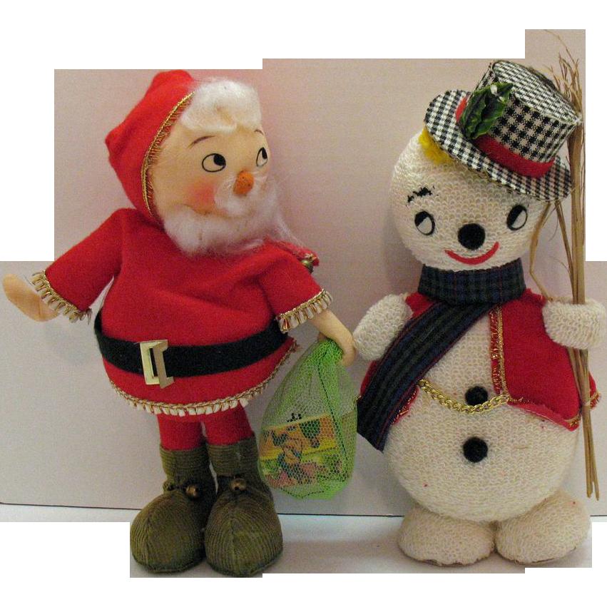 Vintage Styrofoam Santa & Snowman Display Figurines 1950-60s Very Good Condition