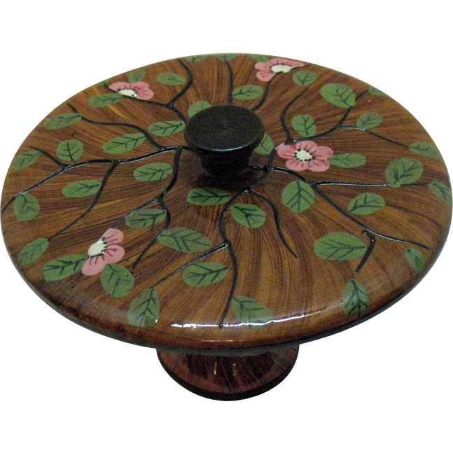 Hand Painted Italian Footed Bowl with Lid 1950-60s Excellent Condition
