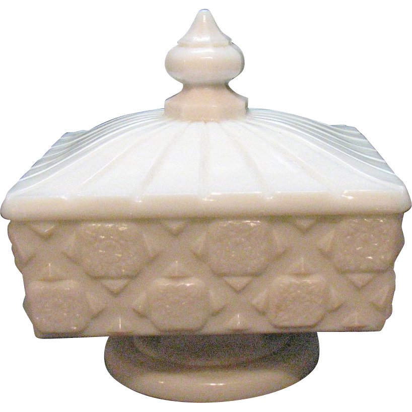 Vintage Westmoreland Milk Glass Compote Covered Honey in Old Quilt Pattern 1940-84 Very Good Condition