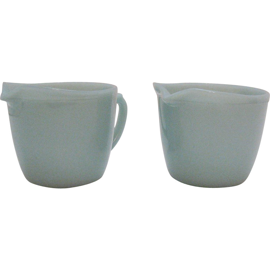 Vintage (2) Fire King Turquoise Blue Creamers 1956-58 Very Good Condition