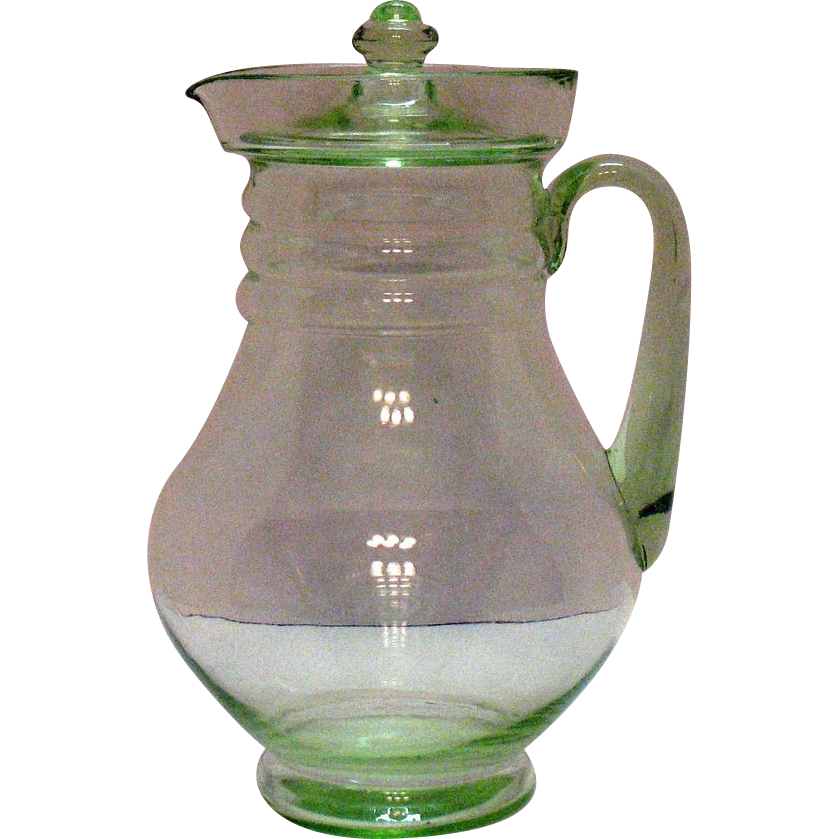 Vintage Transparent Green Beverage Pitcher 1920-30s Very Good Condition